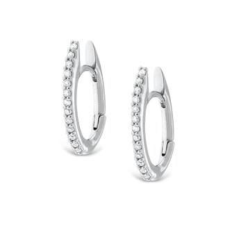 Diamond Oval Shape Hoop Earrings in 14K White Gold with 26 Diamonds Weighing  .20ct tw