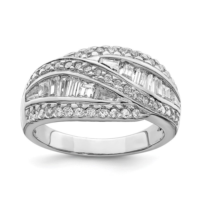 Fine Jewelry by JBD Sterling Silver Rhodium-plated CZ Ring