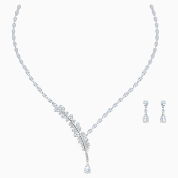 Nice Set, White, Rhodium plated