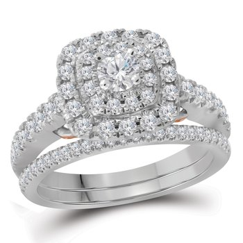 14kt White Gold Womens Round Diamond Bellissimo Double Square Halo Bridal Wedding Engagement Ring Band Set 1.00 Cttw
