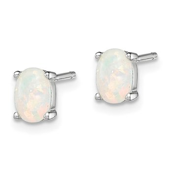 Sterling Silver Created Opal Post Earrings