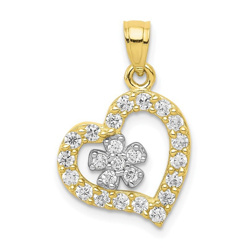 Quality Gold 10k CZ Heart & Flower Pendant