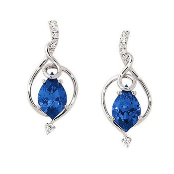 Blue Sapphire Earrings-CE3485WBS