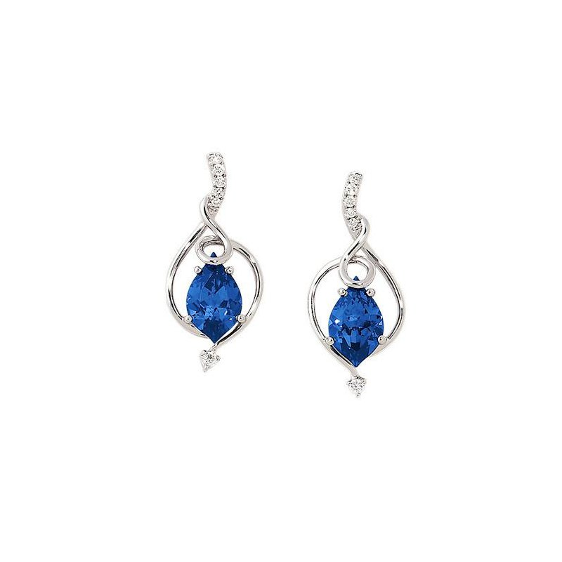 Chatham Blue Sapphire Earrings-CE3485WBS