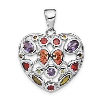 Sterling Silver Multi-Colored CZ Heart Pendant