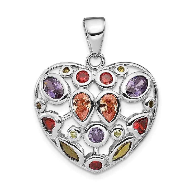 Quality Gold Sterling Silver Multi-Colored CZ Heart Pendant