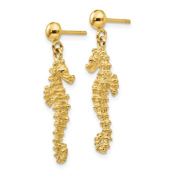 14k Large Seahorse Dangle Post Earrings