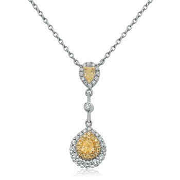 Two Tone Double Pear Diamond Necklace