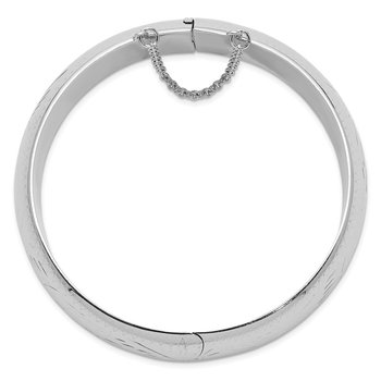 Sterling Silver Rhodium-plated 20mm Hinged Bangle Bracelet