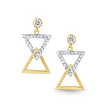 14k Gold and Diamond Geometric Bowtie Earrings