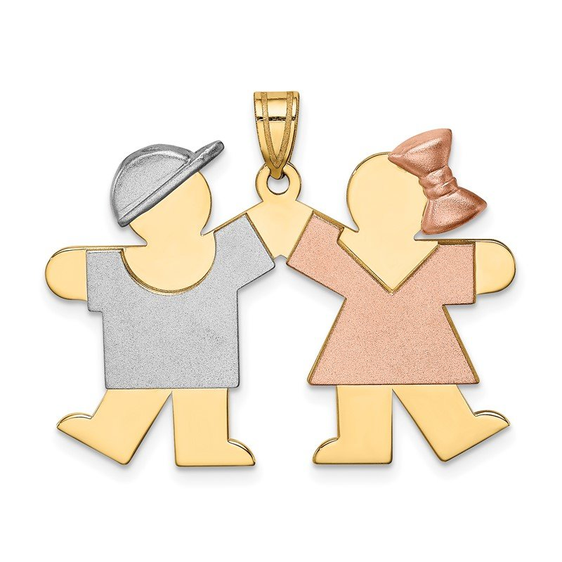 Quality Gold 14k Tri-Color Large Boy on Left and Girl on Right Engravable Charm