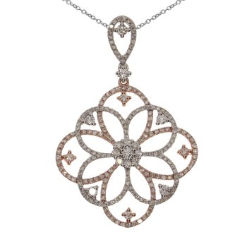 14K Two Tone Diamond Floral Pendant