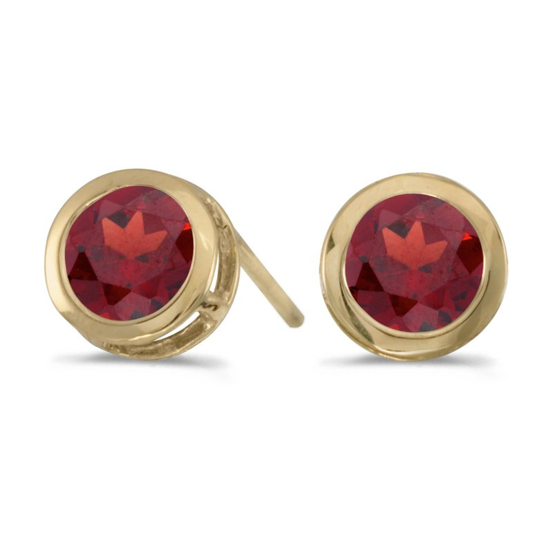 Color Merchants 14k Yellow Gold Round Garnet Bezel Stud Earrings