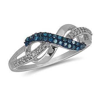 10K Blue and White Diamond Infinity Ring