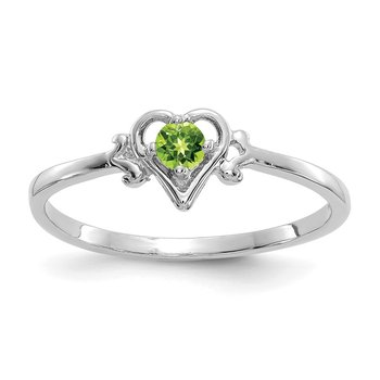 14K White Gold Peridot Birthstone Heart Ring