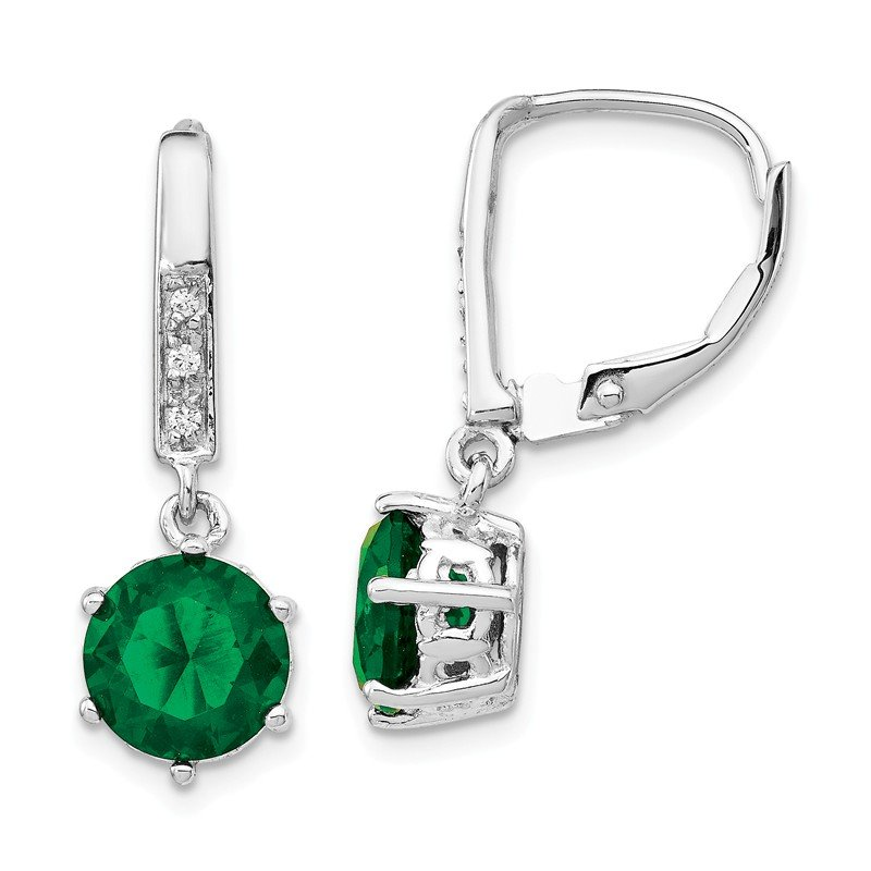 Arizona Diamond Center Collection Cheryl M Sterling Silver Glass Simulated Emerald & CZ Leverback Earrings