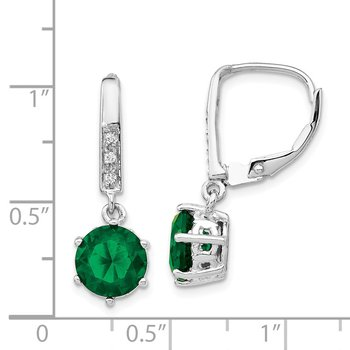Cheryl M SS Rhod-plated Glass Simulated Emerald & CZ Leverback Earrings