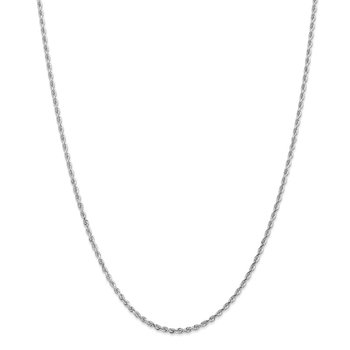 14k White Gold 2.25mm Diamond-cut Quadruple Rope Chain Anklet