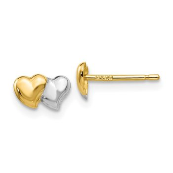 14k with Rhodium Polished Heart Post Earrings
