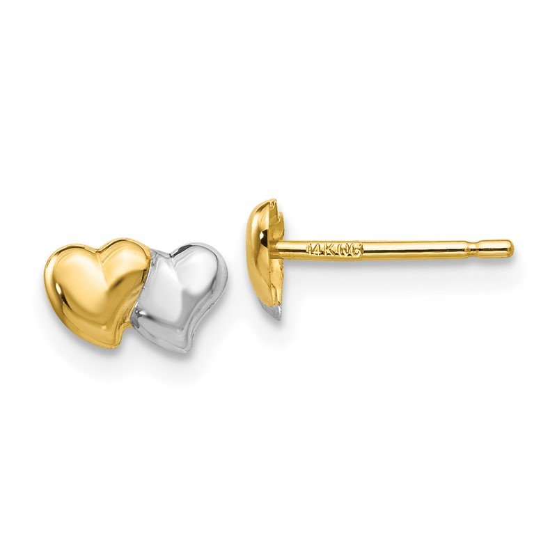 Quality Gold 14k with Rhodium Polished Heart Post Earrings