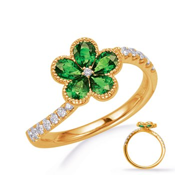 Yellow Gold Tsavorite & Diamond Ring