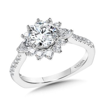 Statement Diamond Halo Engagement Ring