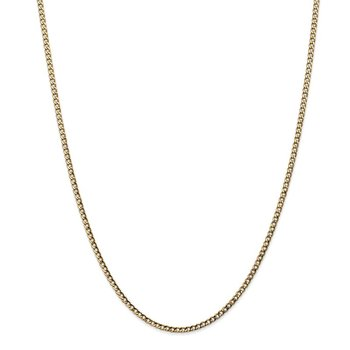 14k 2.5mm Semi-Solid Curb Chain Anklet