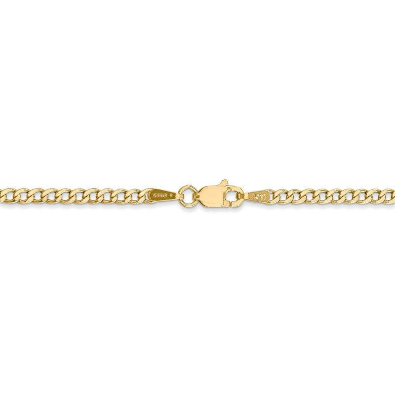 Quality Gold 14k 2.5mm Semi-Solid Curb Chain Anklet