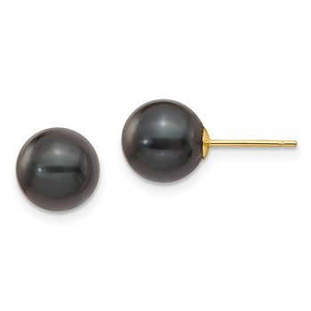14k 8-9mm Round Black Saltwater Akoya Cultured Pearl Stud Post Earrings