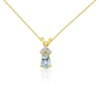 14k Yellow Gold Aquamarine Pear Pendant with Diamonds