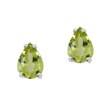 14k White Gold Pear Shaped Peridot  Earrings