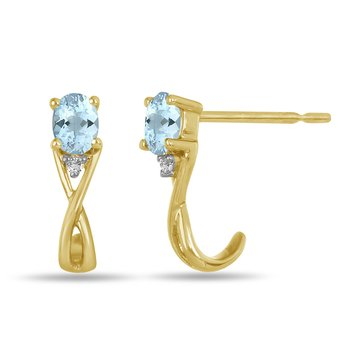 10K YG and diamond and Aquamarine infinity style birthstone earring