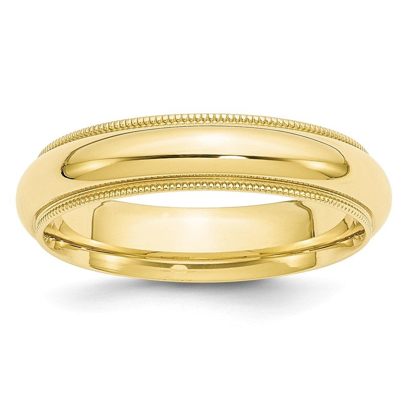Quality Gold 10KY 5mm Milgrain Comfort Fit Band Size 10