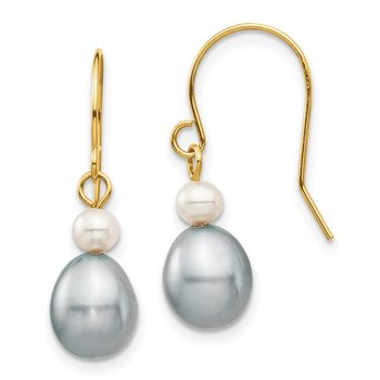 14k 4-7mm White/Grey Round/Rice FW Cultured Pearl Dangle Earrings
