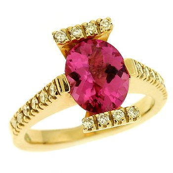 Pink Tourmaline./diamond Ring