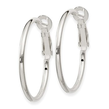 Sterling Silver 2x30mm Omega Back Hoop Earrings