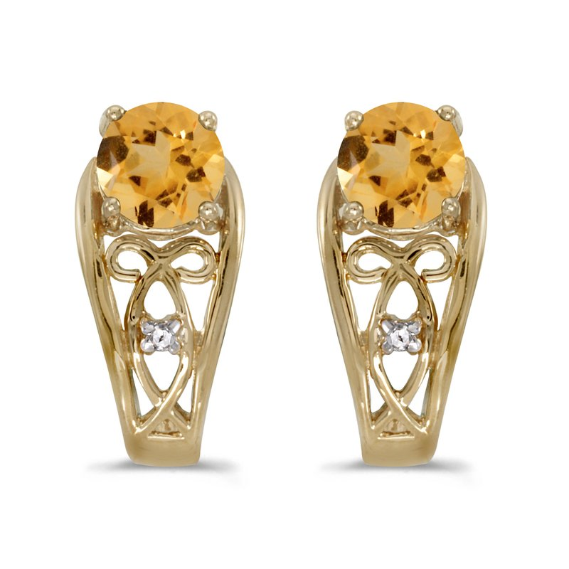 Color Merchants 14k Yellow Gold Round Citrine And Diamond Earrings