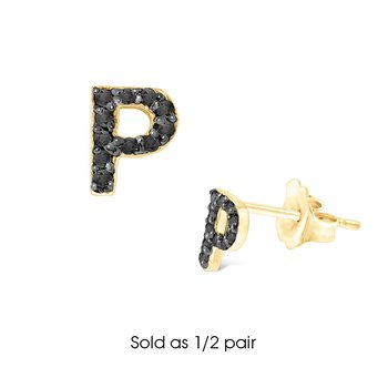 "Black Diamond Single Initial ""P"" Stud Earring (1/2 pair)"