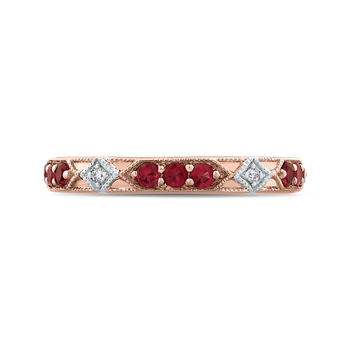 14K Two-Tone Gold Round Diamond and Ruby Wedding Band
