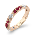 Carizza 14K Two-Tone Gold Round Diamond and Ruby Wedding Band