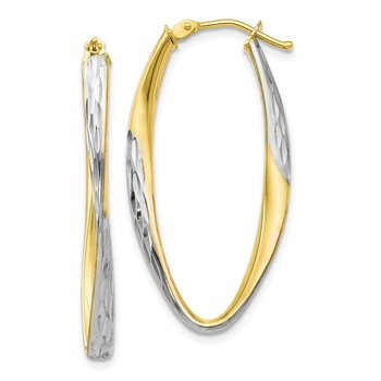 Leslie's 10K Gold White Rhodium-plated D/C Hoop Earrings