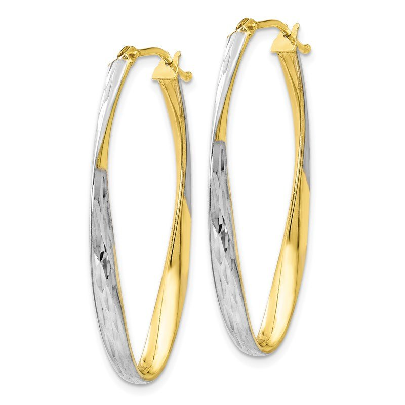Leslie's Leslie's 10K Gold White Rhodium-plated D/C Hoop Earrings