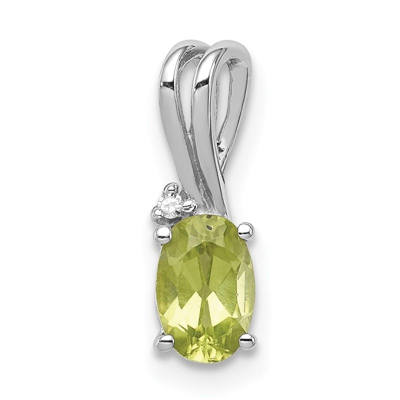 Quality Gold Sterling Silver Rhodium Plated Diamond and Peridot Oval Pendant