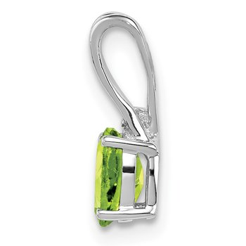 Sterling Silver Rhodium Plated Diamond and Peridot Oval Pendant