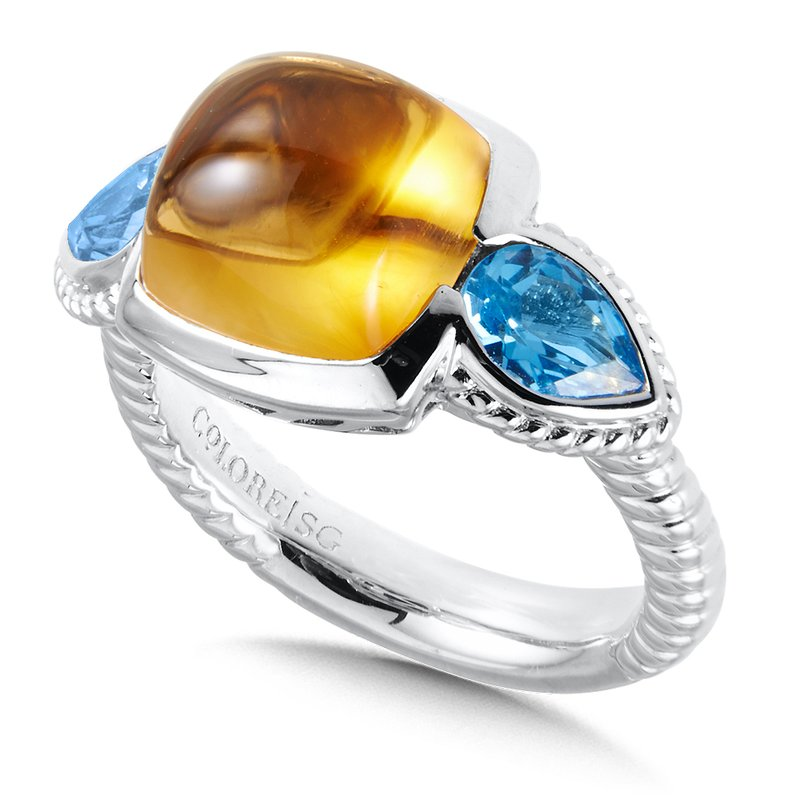 Colore Sg Sterling Silver Citrine and Blue Topaz Ring