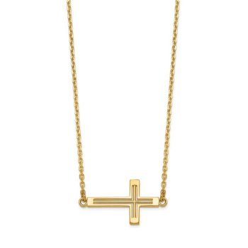 14k Sideways Cut-out Cross Necklace