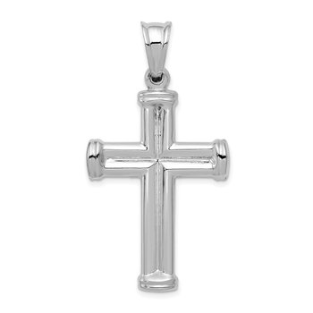 14k White Gold Hollow Cross Pendant