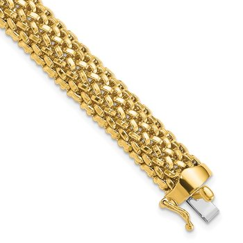 14k 7.25in 9.25mm Polished Mesh Bracelet