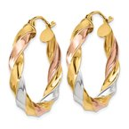 Quality Gold 14k Tri-color Light Twisted Hoop Earrings