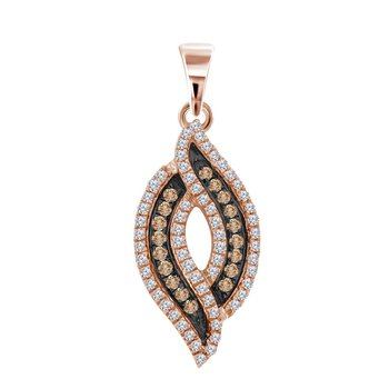10kt Rose Gold Womens Round Red Color Enhanced Diamond Cascading Fashion Pendant 1/3 Cttw
